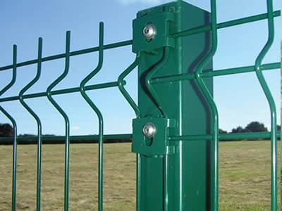Two 3D security fence panels are connected by the rectangular post.