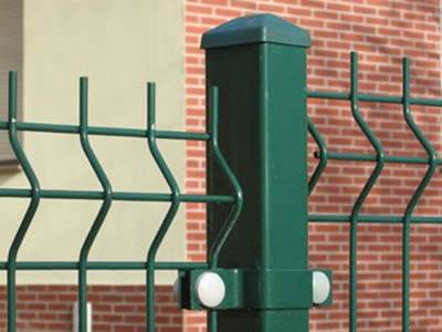 Two 3D security fence panels are connected by the square post.