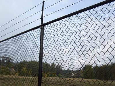 Anti-intruder chain link fence with straight post is installed surround the forest farm.