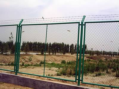 Several welded anti-intruder fence with one piece structure.