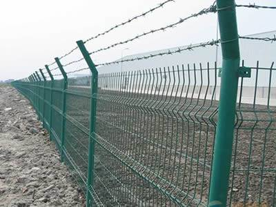 Several PVC coated welded anti-intruder fences are surrounding the construction site.
