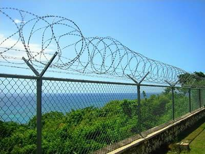Chain link fence with concertina razor wire coils on topping installed for road fence, on the other side of the fence is the dense green trees and a sea.