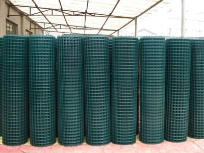 Dark-green PVC coated welded wire mesh rolls warehouse