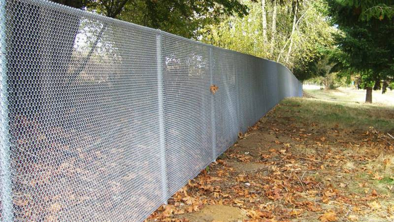 A galvanized mini mesh chain link fence with heavy gauge pipe posts and rails installed in the woods.