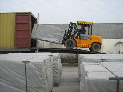 Galvanized welded wire mesh panels are loading to container