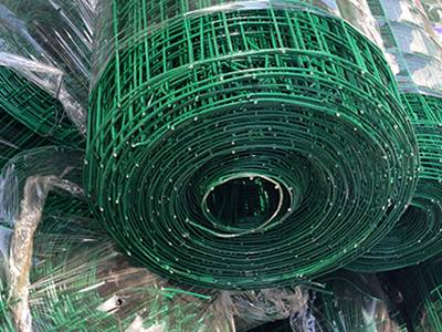 Green PVC coated welded wire mesh roll in plastic film package