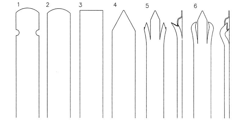 Six drawings of corrugated palisade fence head types on the white background.