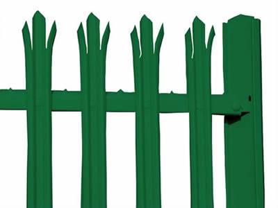 A piece of dark green palisade fence with RSJ post.