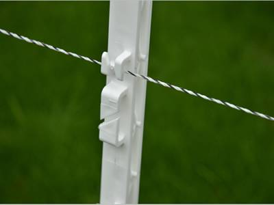 A white color PP electric fencing post is holding an electric line.