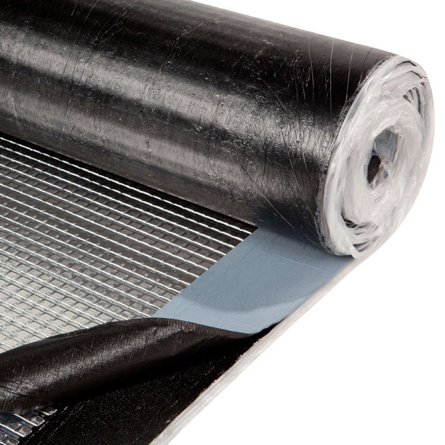 It's a black asphalt waterproofing membrane which is unrolled partly.