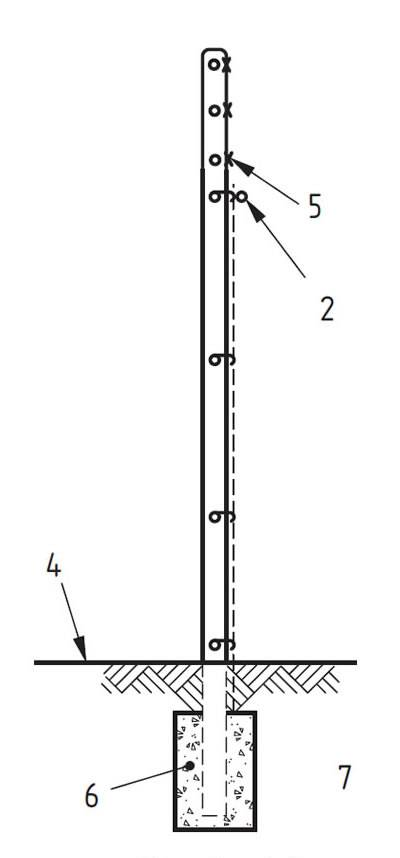 A drawing of straight intermediate post.