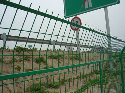 Green welded wire panels installed in steel frame for high way fencing