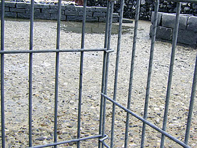 Two welded gabion panels are connected by the hooks which is designed in advance.