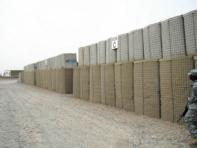 Gabion barriers are installed in the military site.