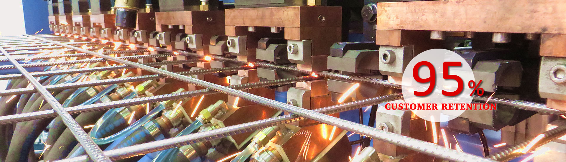 A welding machine is producing the reinforcing mesh.