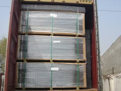 Green PVC coated welded wire panels in container ready to delivery